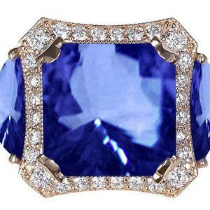 Radiant Aaa Tanzanite & Round Diamonds Ring